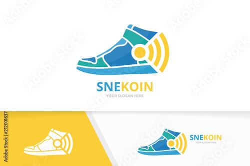 Vector Sneaker And Wifi Logo Combination Shoe Signal Symbol Or Icon Unique Footwear