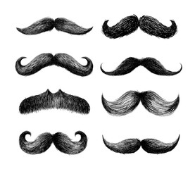 Set of moustaches. Hand drawn black mustache for barbershop or mustache carnival. Freehand drawing. Vector illustration. Isolated on white background