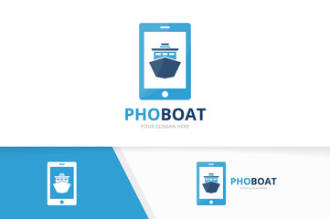 Vector ship and phone logo combination. Boat and mobile symbol or icon. Unique yacht and device logotype design template.