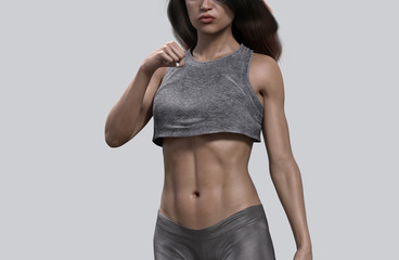 woman who has athletic body does workout - 3d rendering