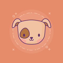 cute dog icon over orange background, colorful design. vector illustration