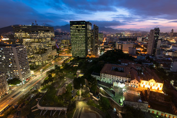 Night Time View of Rio de Janeiro City Downtown