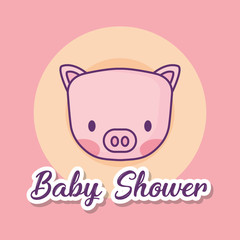 Baby shower design with cute pig over pink background, colorful design. vector illustration