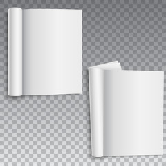 Blank of book, catalog or brochure with rolled sheets. Vector.