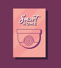 Smart home design with security camera icon over pink background, colorful design. vector illustration