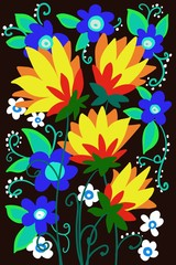 hand drawn beautiful retro flat shape flowers on dark background for fantasy bold garden illustration pattern