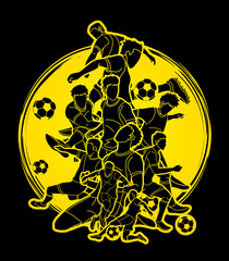 Soccer player team composition illustration graphic vector.