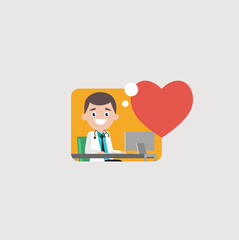 Cheerful medic in whites sitting and working at computer at big red heart on gray background