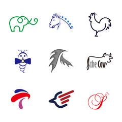 Animal vector set Logo element. Corporate branding identity design template. Animal design collection. Vector illustration