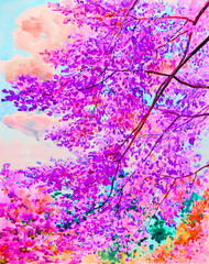 Watercolor painting original landscape colorful of himalayan cherry  flowers  tree