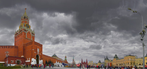 Spasskaya Tower of Kremlin on Red Square, Moscow, Russia