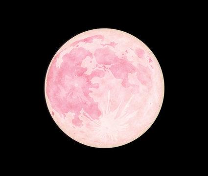 夜空に浮かぶ赤い満月-ストロベリームーン