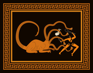 orange and black scene hercules fighting the hydra