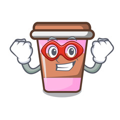 Super hero coffee cup character cartoon