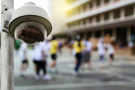 Outdoor CCTV monitoring at a school, security cameras.