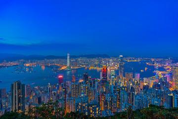 Skyline of Hong Kong at Blue Hour