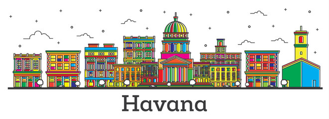 Outline Havana Cuba City Skyline with Color Buildings Isolated on White.