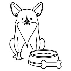 cute dog pet with dish and bone character