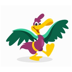 funny cheerful dancing crane stork heron bird mascot cartoon character