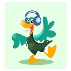 funny cheerful duck goose dancing with headphone mascot cartoon character