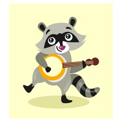 cute little raccoon playing banjo guitar mascot cartoon character