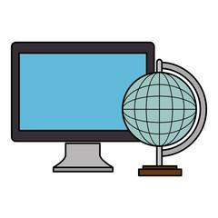 computer desktop with planet