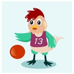 cute little chicken playing nasketballmascot cartoon character