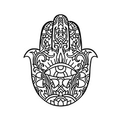 Hamsa symbol. Fatima hand pattern. Indian mandala ornament. Asian authentic vector illustration. Third eye.
