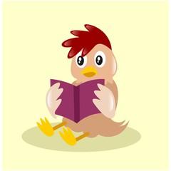 cute little chicken reading book mascot cartoon character