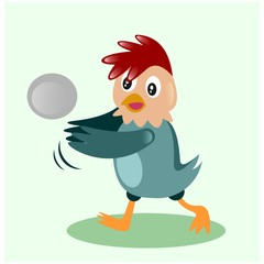 cute little chicken play volleyball mascot cartoon character