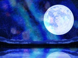 幻想的な月と天の川と湖面に映るキラキラ夏の星空イメージ