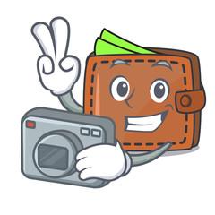 Photographer wallet mascot cartoon style