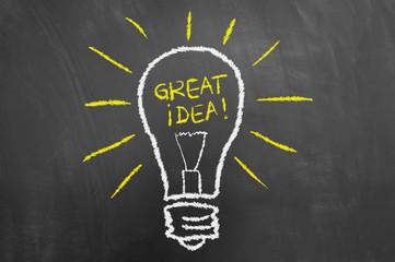 Great idea light bulb chalk drawing on chalkboard or blackboard.