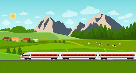 Train on railway. Summer landscape with village and herd of cows on the field. Vector flat style illustration