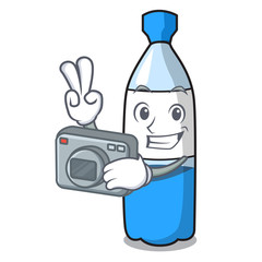 Photographer water bottle mascot cartoon