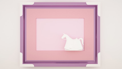 A rocking horse in a pink violet frame - Artwork for kid - Cute decoration frame for artwork design - Autumn artwork - 3D Rendering