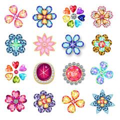 Gemstones jewelry brooch flower pattern set