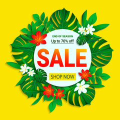 Sale poster. Summer sellout banner. trendy tropical style. Floral jungle background with exotic tropic flowers, leaves. End of the season discount vector design for shop, business, web page with text.