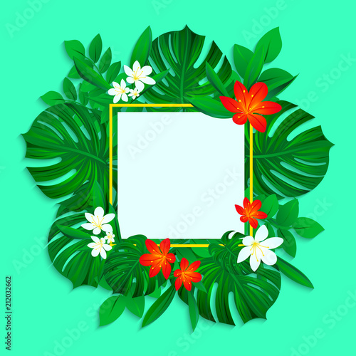 Tropical Frame With Jungle Leaves Monstera And Colorful Flowers