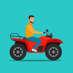 Man on the ATV motorcycle isolated. Vector flat style illustration