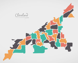 Cleveland Ohio Map with neighborhoods and modern round shapes