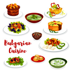 Bulgarian cuisine icon of vegetable and meat dish