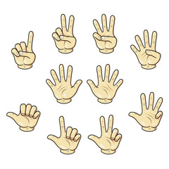 Cartoon illustration of counting with fingers hand.