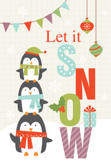 let it snow greeting card with cute penguins