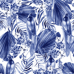Beautiful watercolor seamless, tropical jungle floral pattern background with palm leaves, flower orchids, parrot.