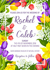 Wedding invitation with spring flower frame border