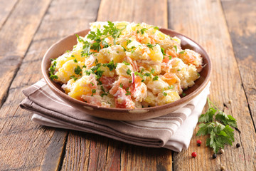 Wall Mural - potato salad with salmon and sauce