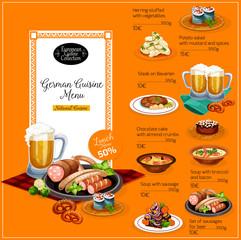 German cuisine restaurant lunch menu template