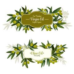 Olive oil label with green fruit for food design