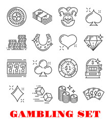 Gambling sport icon of casino and card game design